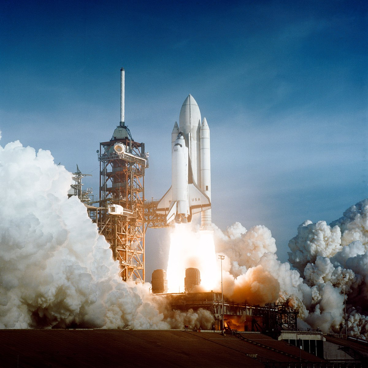 S81-30498 (12 April 1981) --- After six years of silence, the thunder of manned spaceflight is heard again, as the successful launch of the first space shuttle ushers in a new concept in utilization of space. The April 12, 1981 launch, at Pad 39A, just seconds past 7 a.m., carries astronaut John Young and Robert Crippen into an Earth-orbital mission scheduled to last for 54 hours, ending with unpowered landing at Edwards Air Force Base in California. STS-1, the first in a series of shuttle vehicles planned for the Space Transportation System, utilizes reusable launch and return components. Photo credit: NASA or National Aeronautics and Space Administration